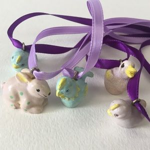 """Easter Charm Necklaces. 26"""" Ribbon."""